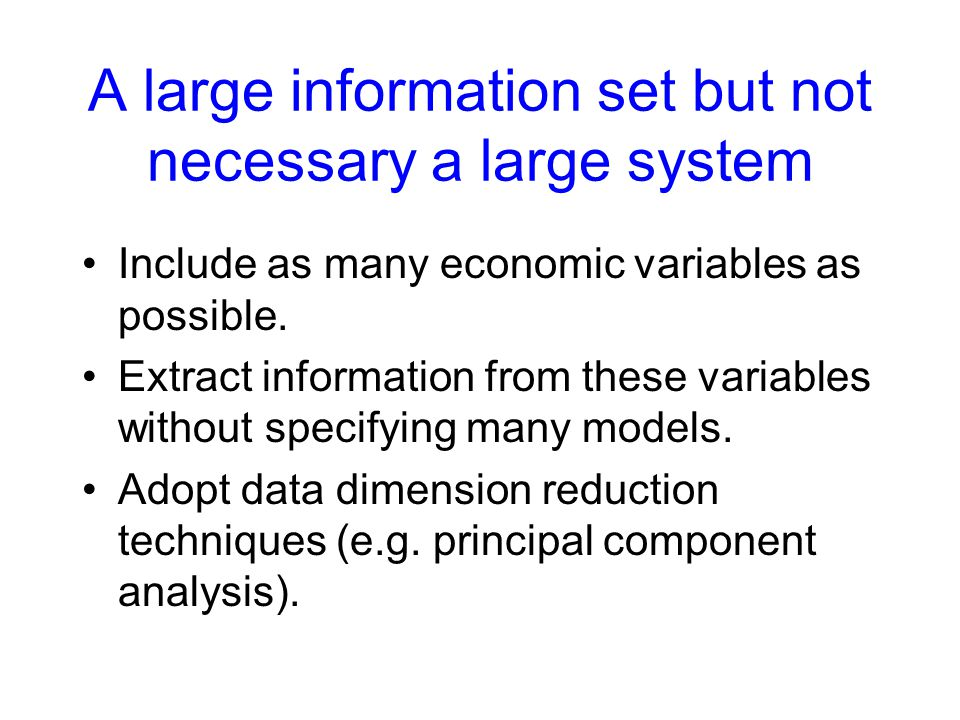 A large information set but not necessary a large system