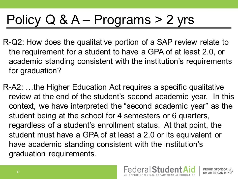 Policy Q & A – Programs > 2 yrs