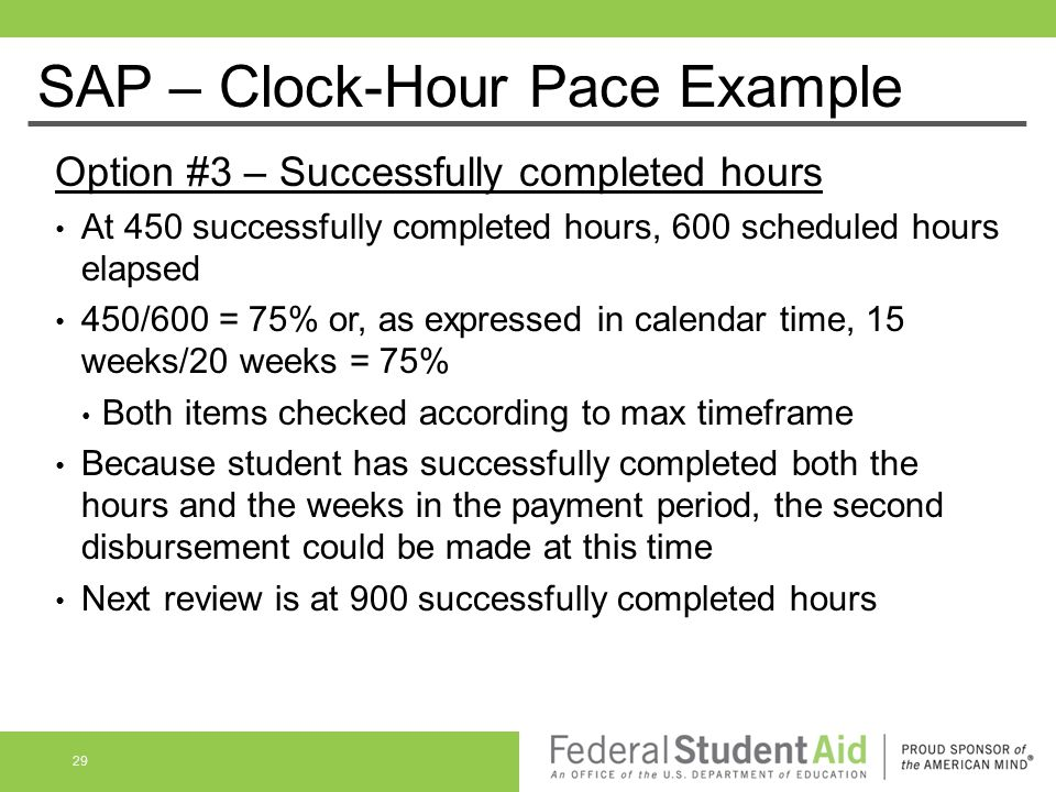 SAP – Clock-Hour Pace Example