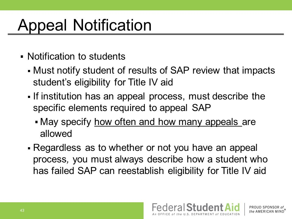 Appeal Notification Notification to students
