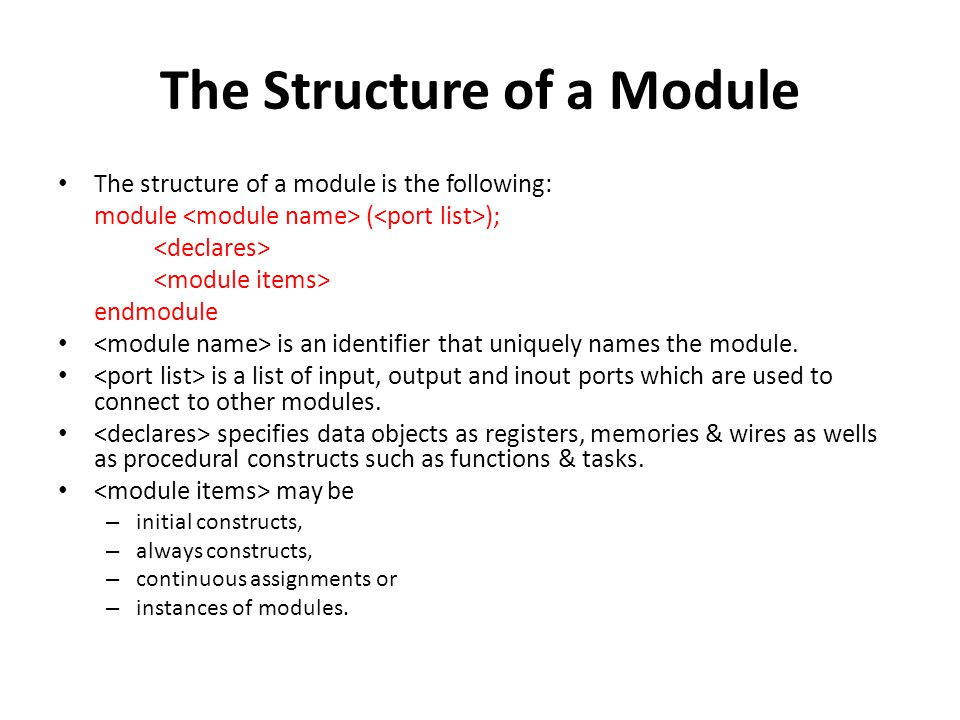 The Structure of a Module