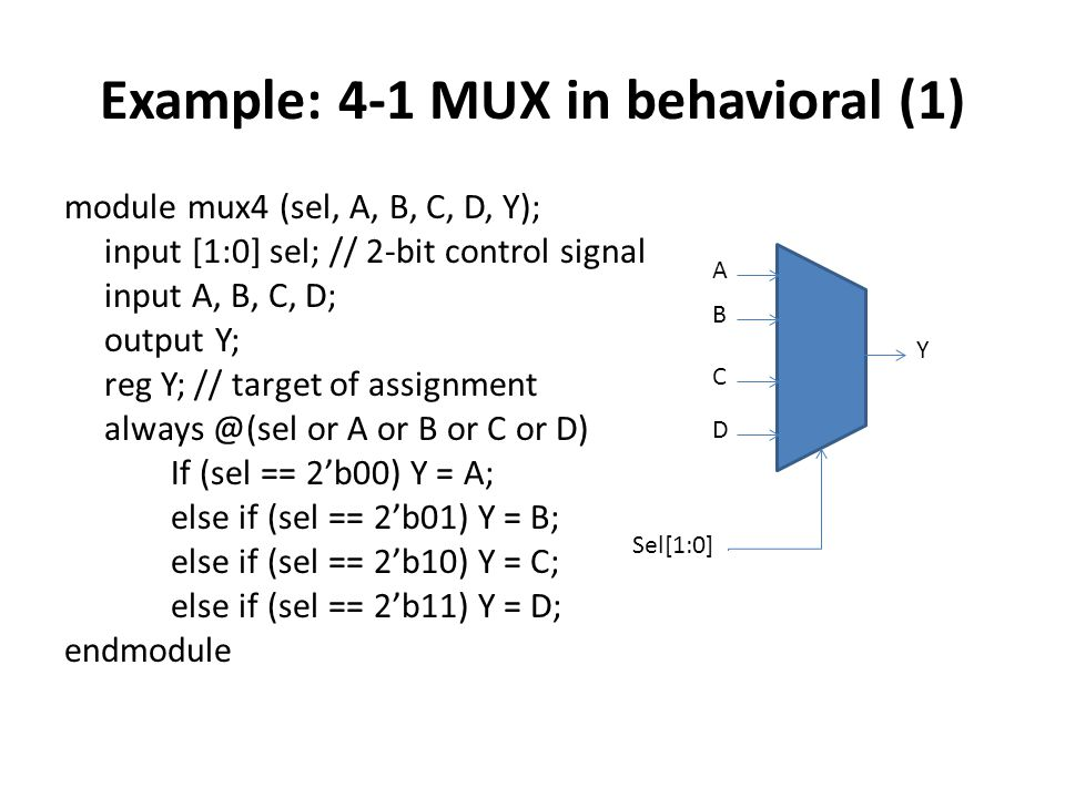 Example: 4-1 MUX in behavioral (1)