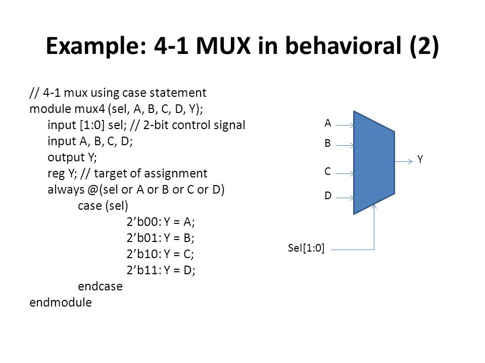Example: 4-1 MUX in behavioral (2)