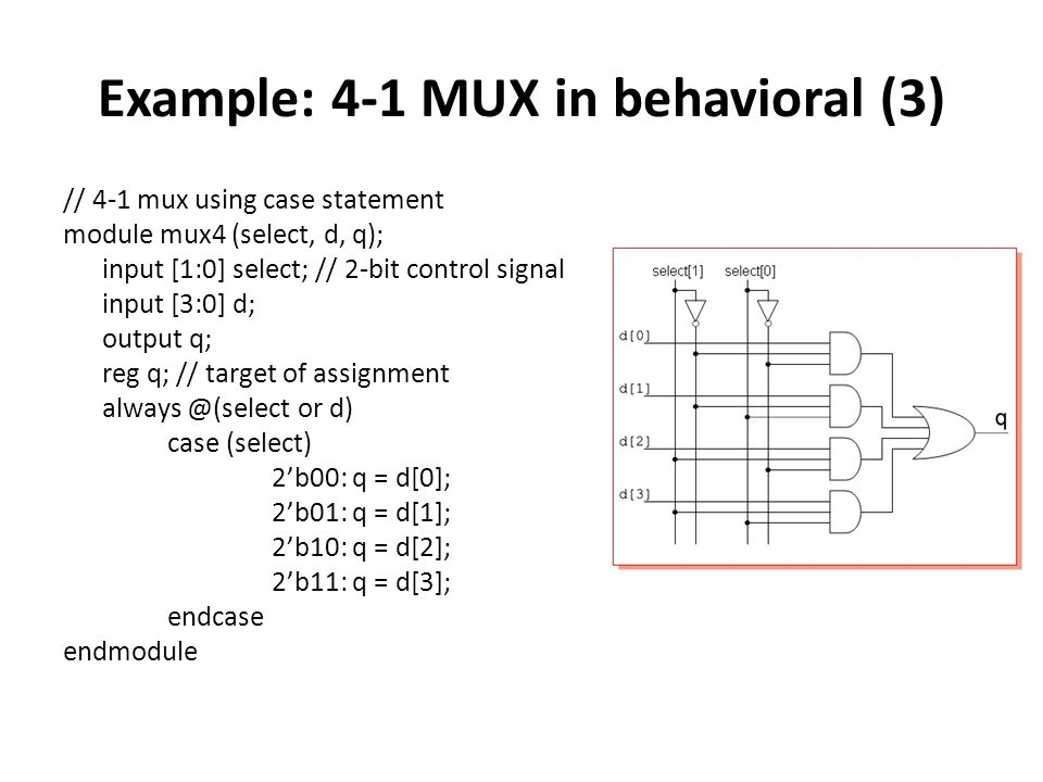 Example: 4-1 MUX in behavioral (3)