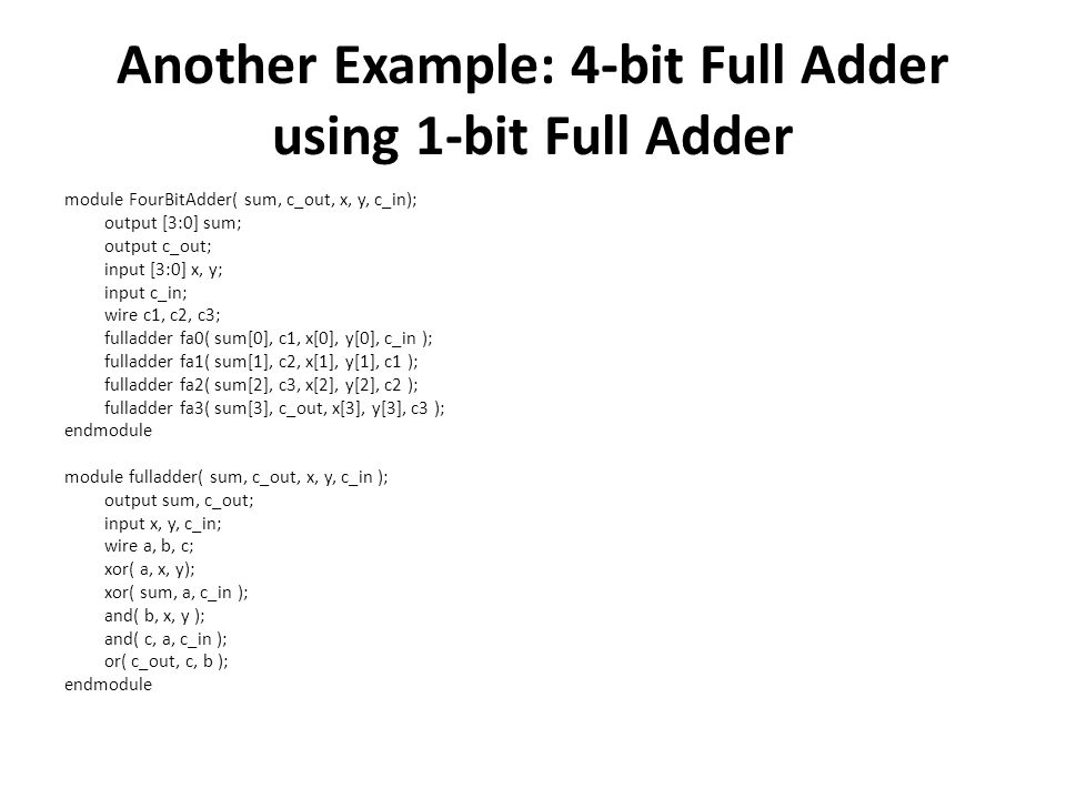 Another Example: 4-bit Full Adder using 1-bit Full Adder