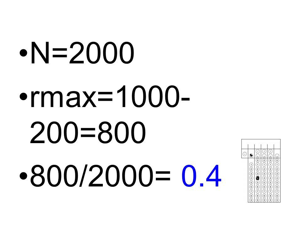 N=2000 rmax=1000-200=800 800/2000= 0.4