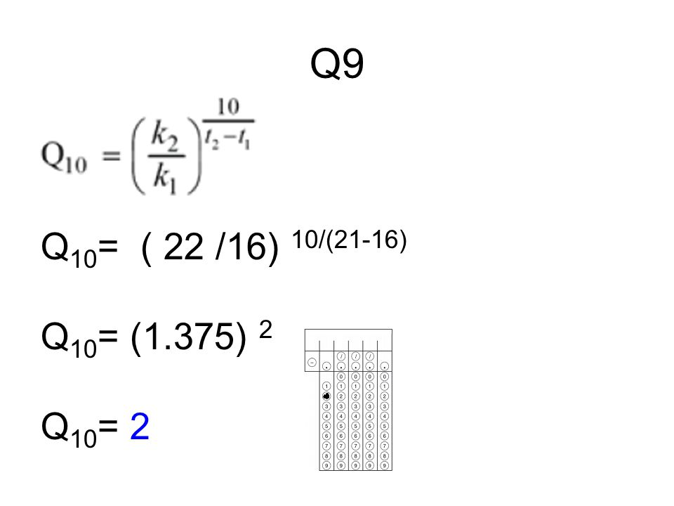 Q9 Q10= ( 22 /16) 10/(21-16) Q10= (1.375) 2 Q10= 2