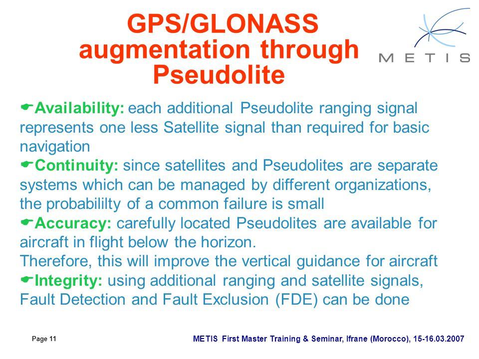 GPS/GLONASS augmentation through Pseudolite