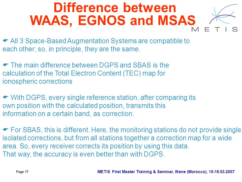 Difference between WAAS, EGNOS and MSAS
