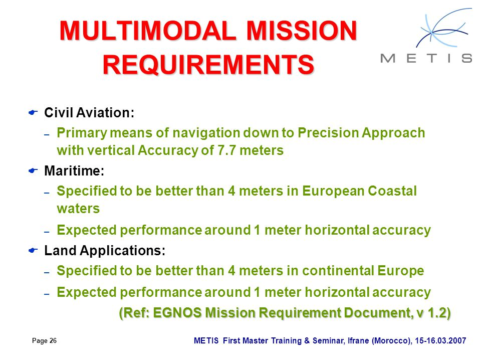 MULTIMODAL MISSION REQUIREMENTS