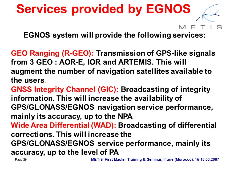 Services provided by EGNOS