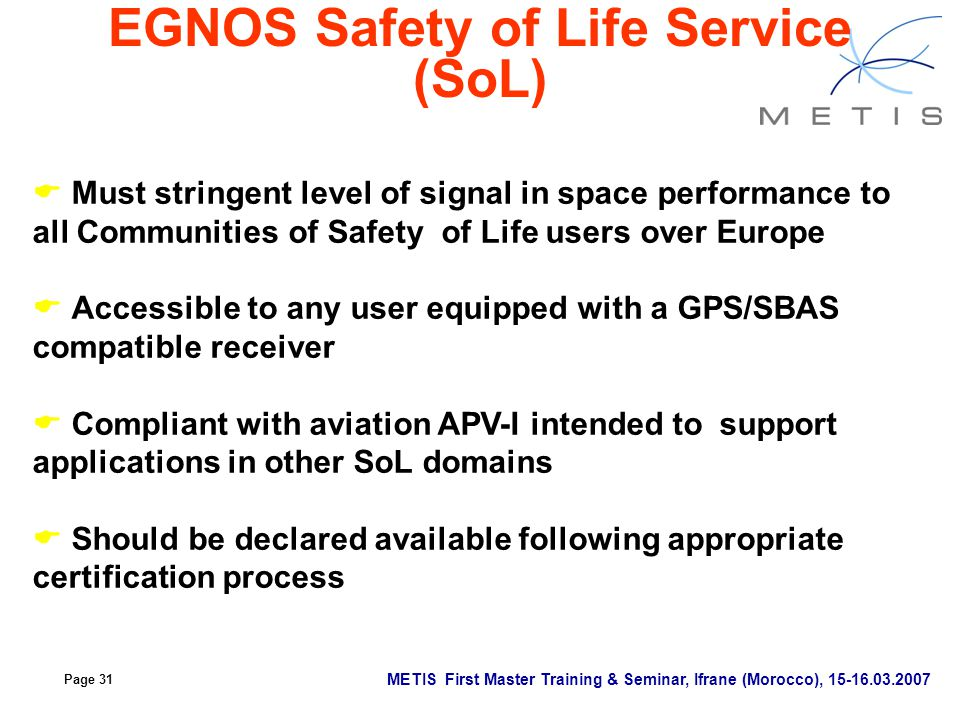 EGNOS Safety of Life Service (SoL)