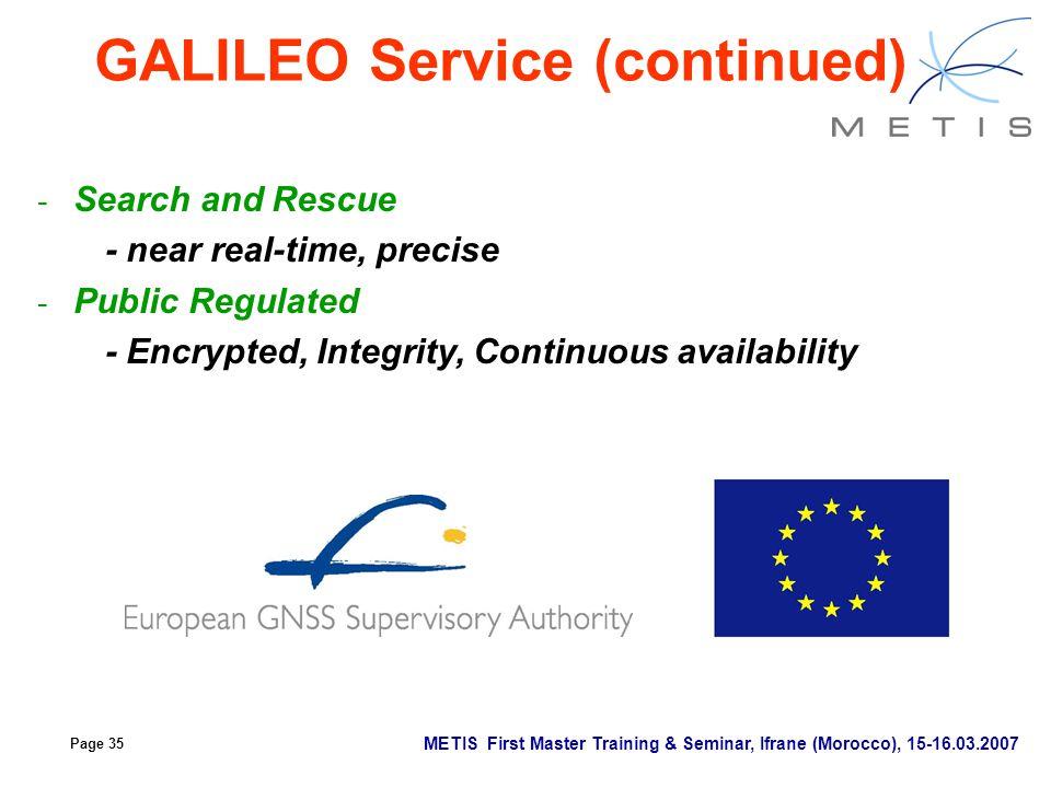 GALILEO Service (continued)