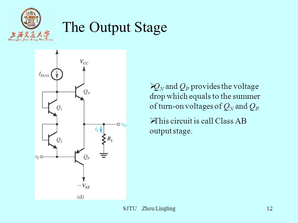 The Output Stage QN and QP provides the voltage drop which equals to the summer of turn-on voltages of QN and QP.