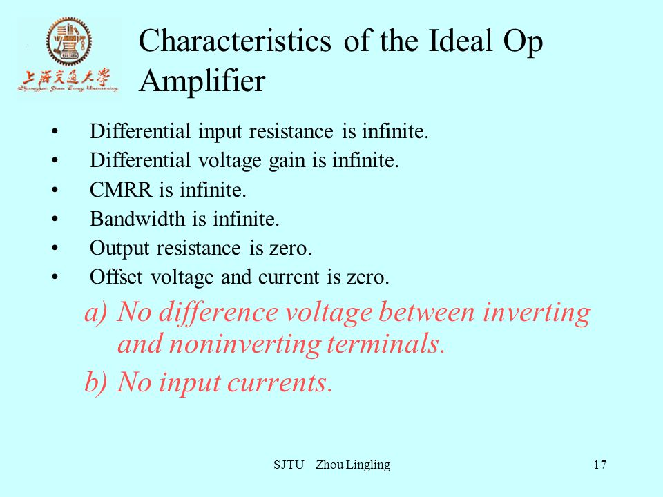 Characteristics of the Ideal Op Amplifier