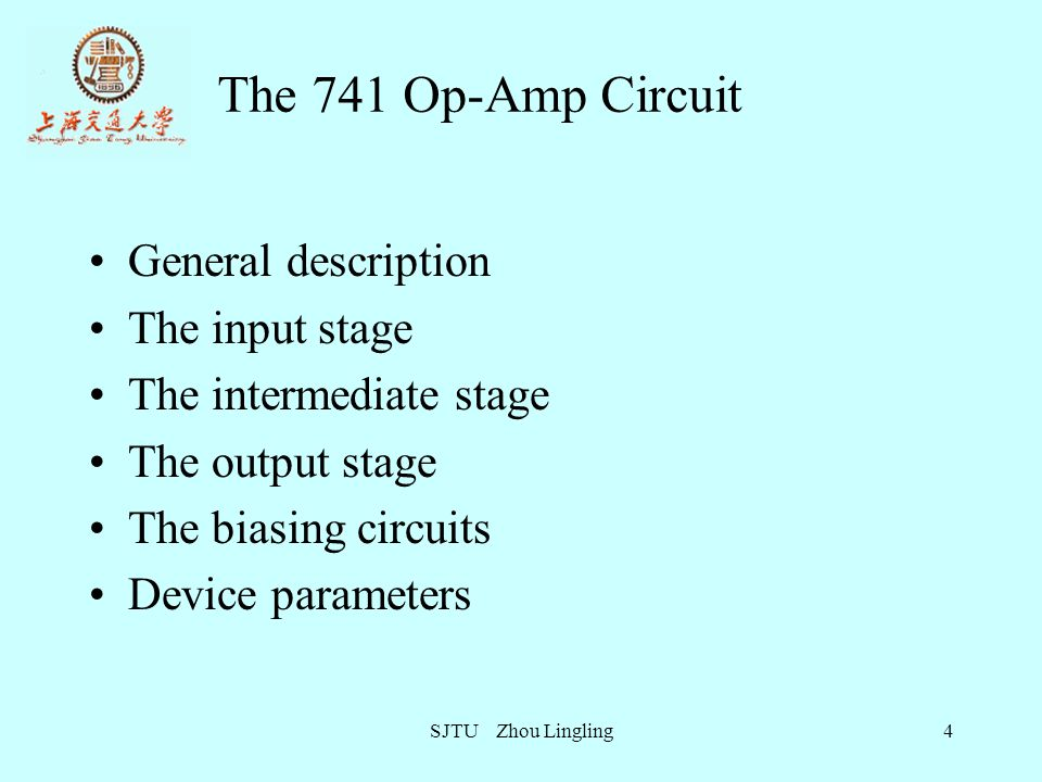 The 741 Op-Amp Circuit General description The input stage