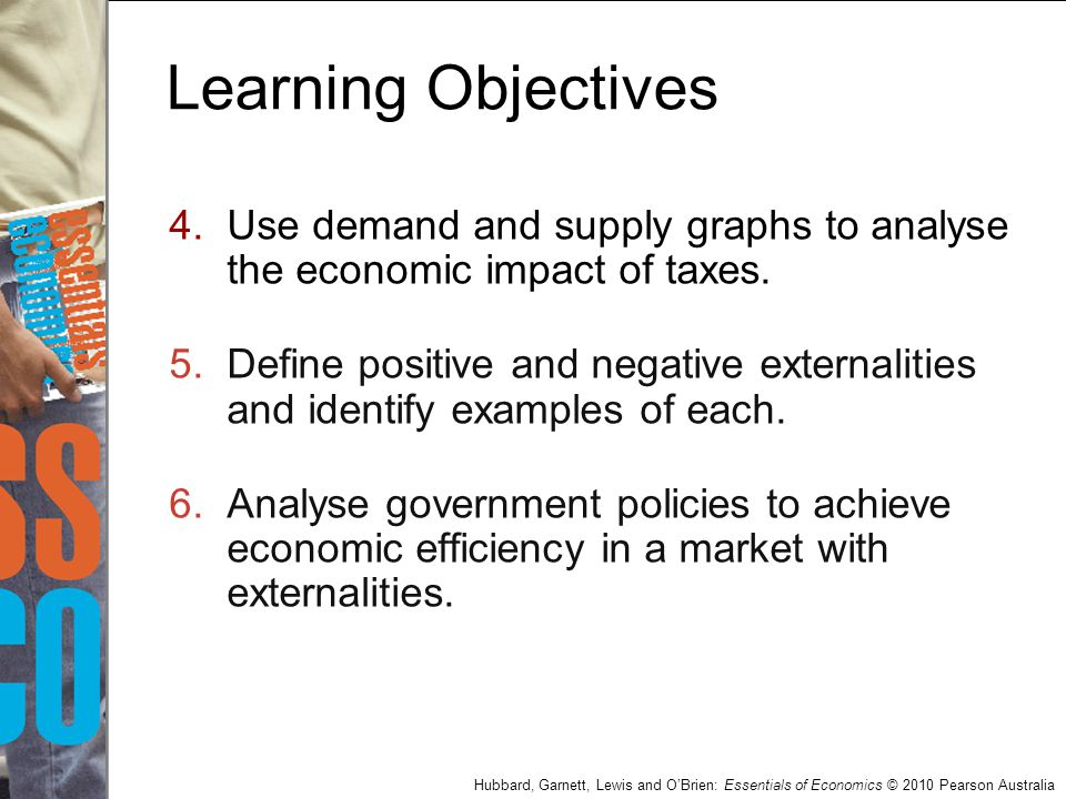 Learning Objectives Use demand and supply graphs to analyse the economic impact of taxes.