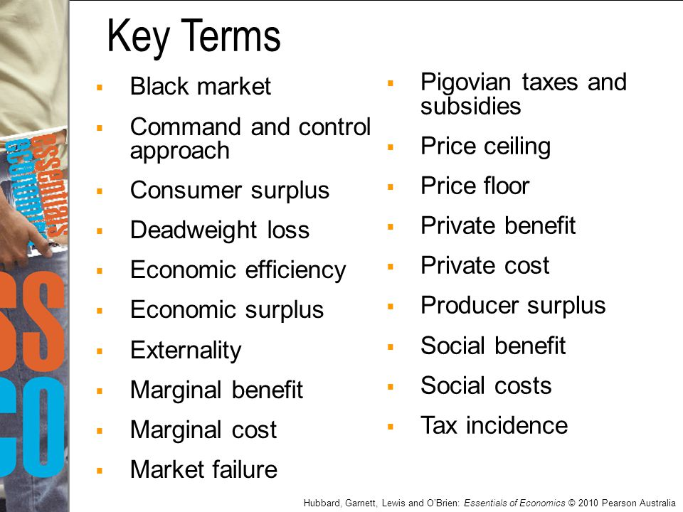 Key Terms Pigovian taxes and subsidies Black market