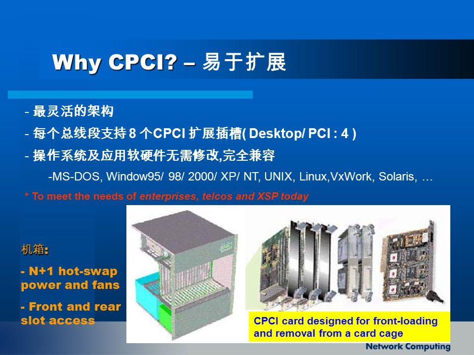 Why CPCI – 易于扩展 最灵活的架构 每个总线段支持 8 个CPCI 扩展插槽( Desktop/ PCI : 4 )