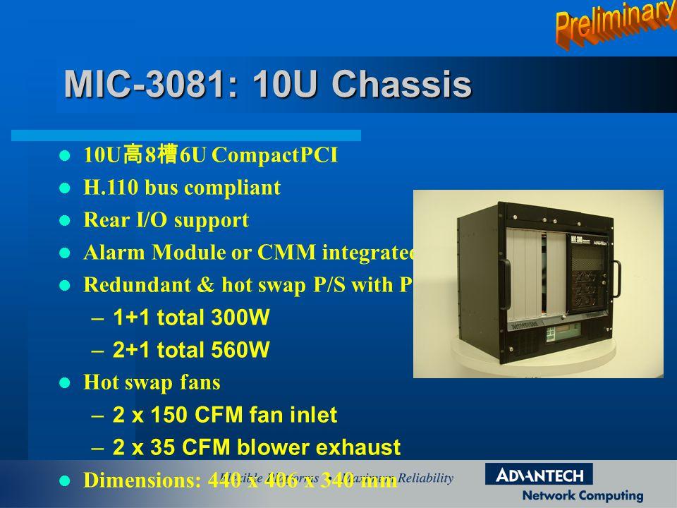 MIC-3081: 10U Chassis Preliminary 10U高8槽6U CompactPCI