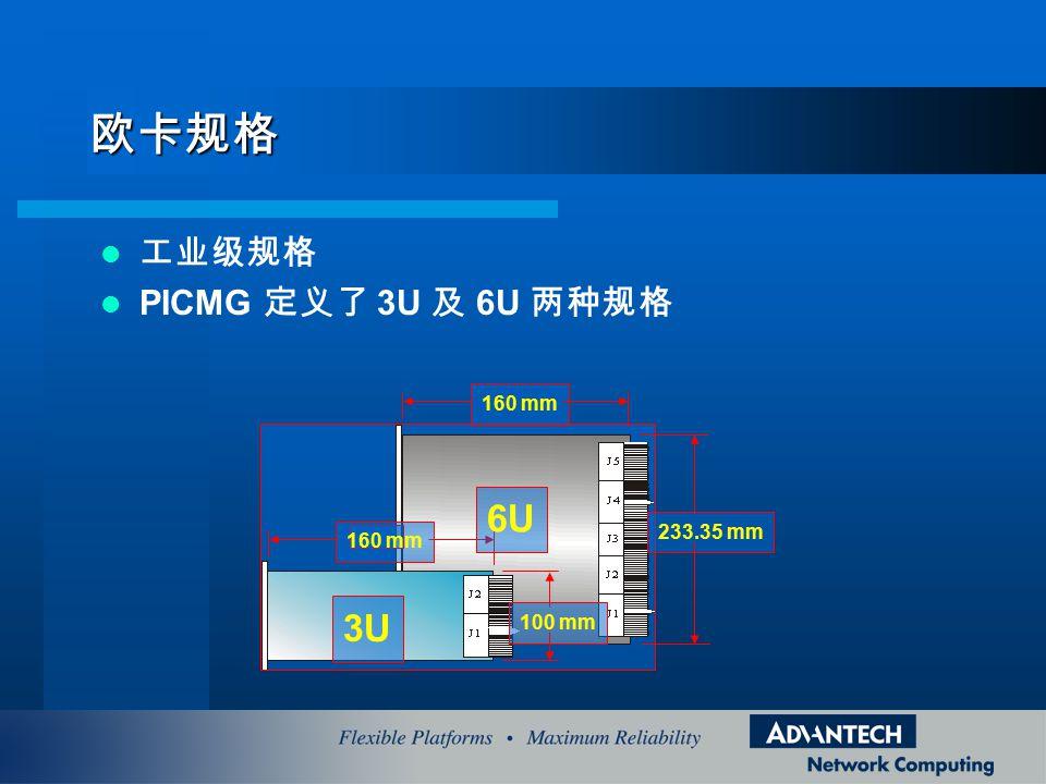 欧卡规格 6U 3U 工业级规格 PICMG 定义了 3U 及 6U 两种规格 160 mm