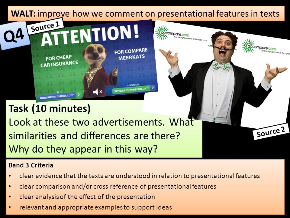 WALT: improve how we comment on presentational features in texts