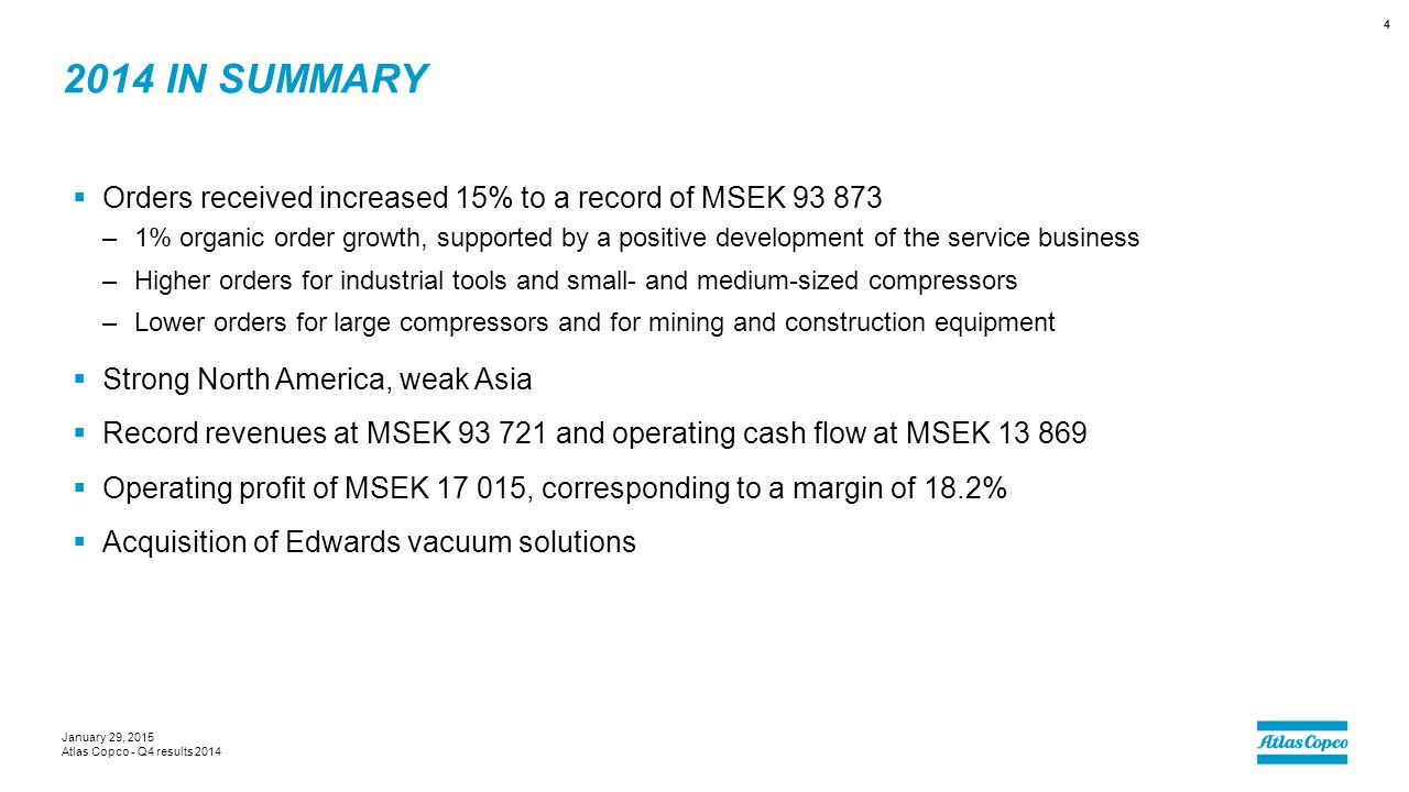 2014 in summary Orders received increased 15% to a record of MSEK 93 873.