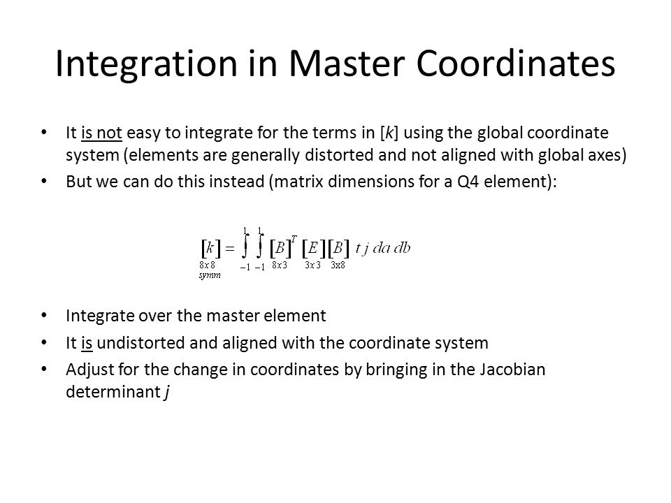 Integration in Master Coordinates