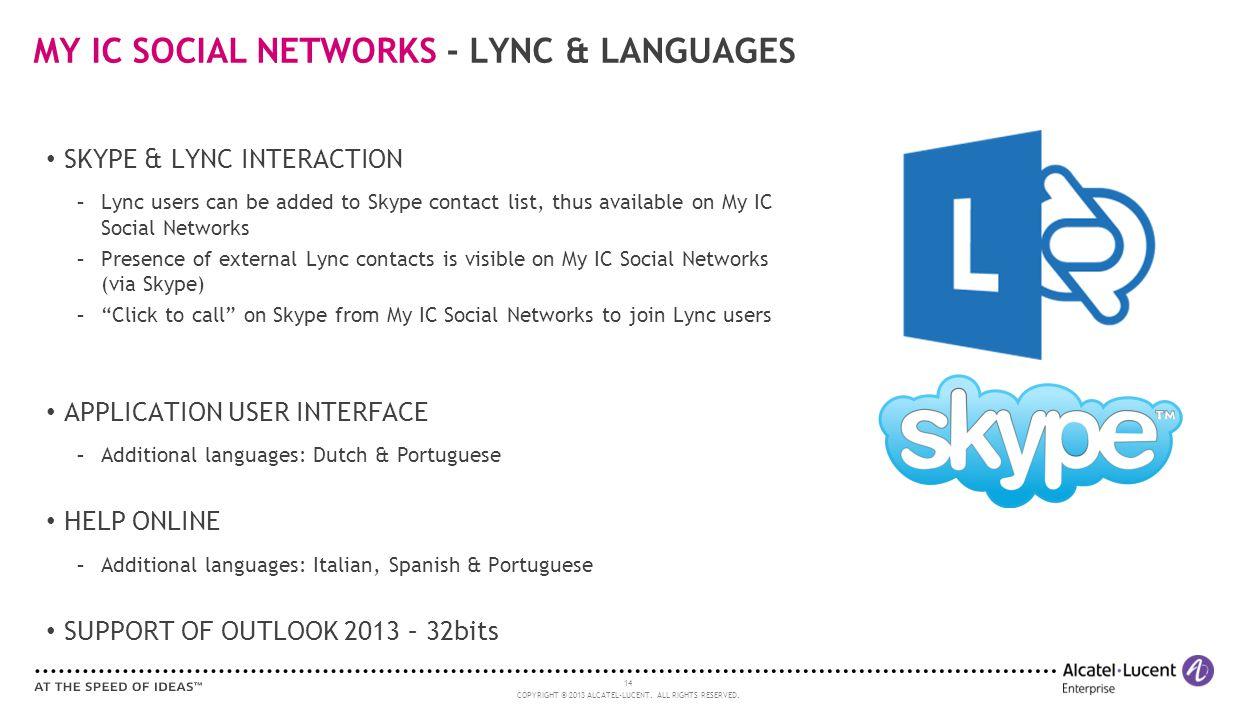 MY IC SOCIAL NETWORKS - LYNC & LANGUAGES