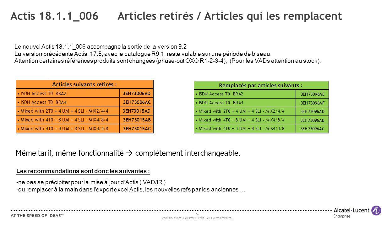 Actis 18.1.1_006 Articles retirés / Articles qui les remplacent