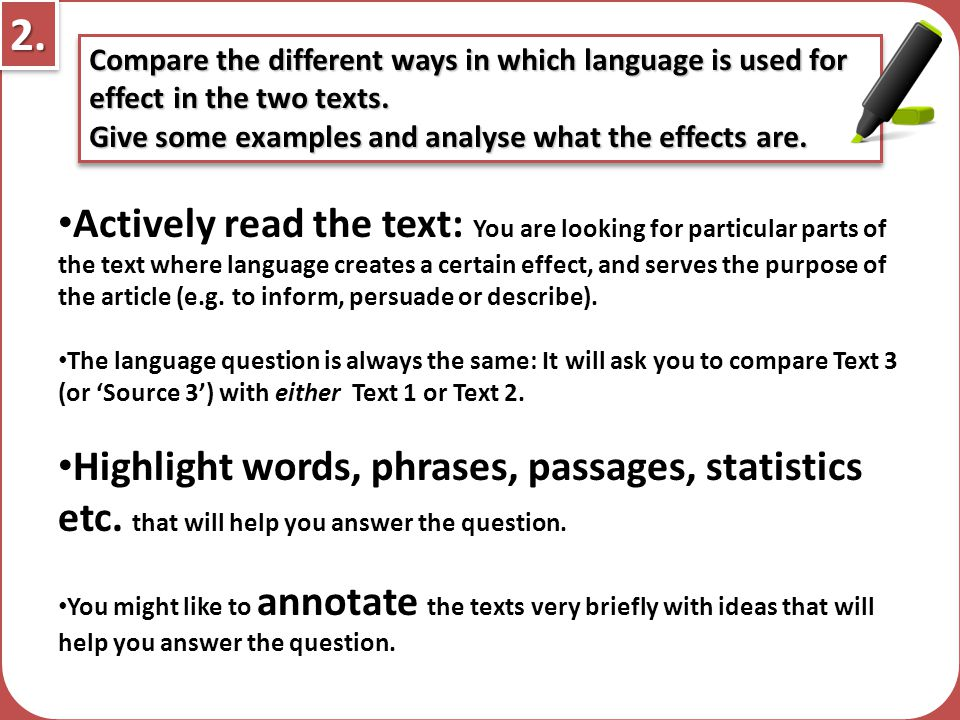 Compare the ways in which language is used for effect in the two texts give some examples and analys