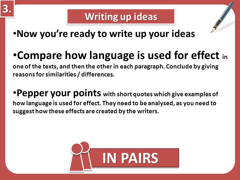 3. Writing up ideas. Now you're ready to write up your ideas.