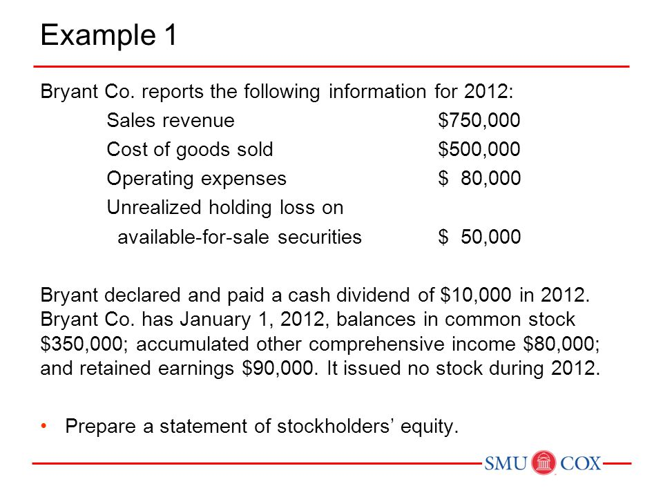 Example 1 Bryant Co. reports the following information for 2012: