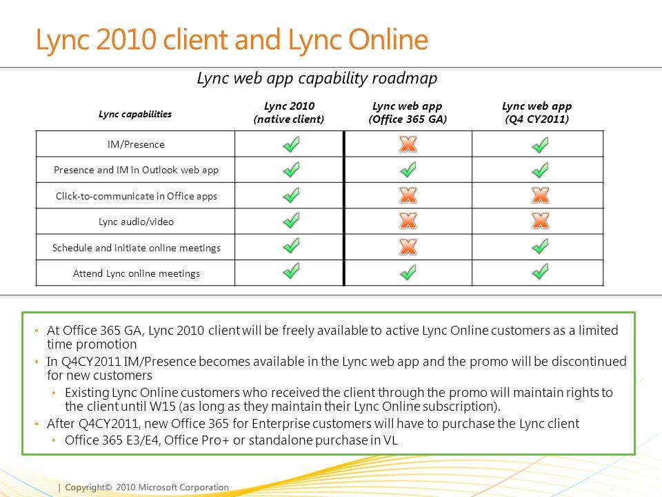 Lync 2010 client and Lync Online