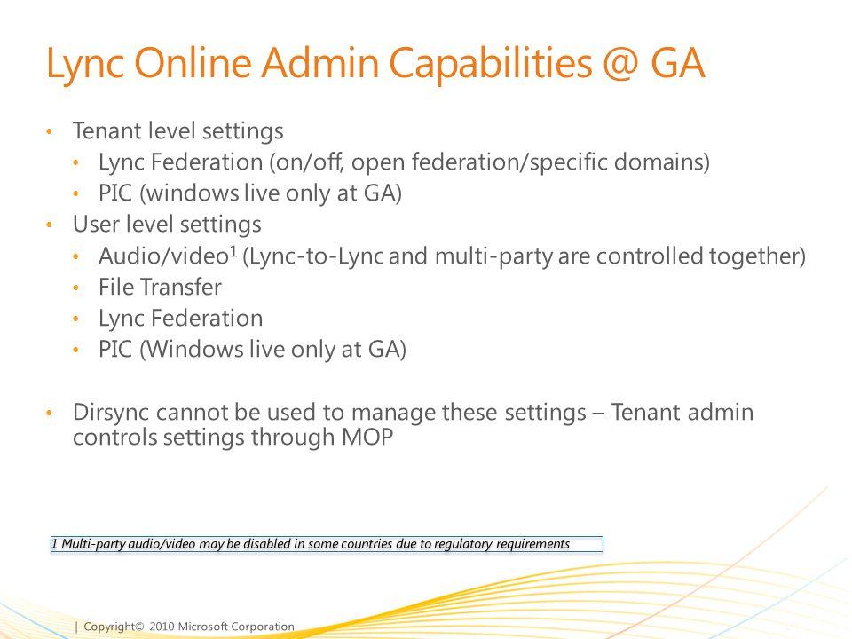 Lync Online Admin Capabilities @ GA