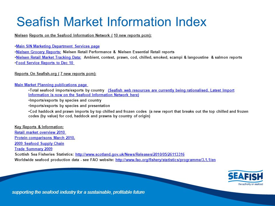 Seafish Market Information Index