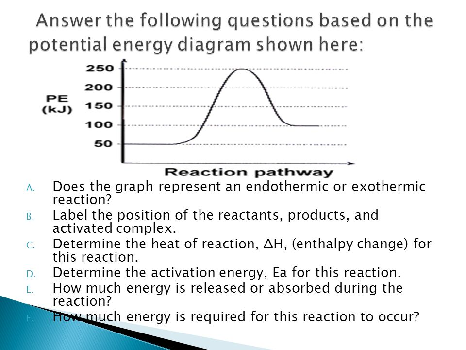 Answer the following questions based on the potential energy diagram shown here: