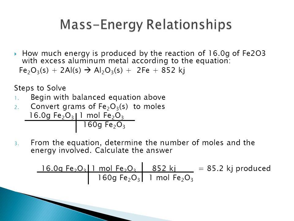 Mass-Energy Relationships