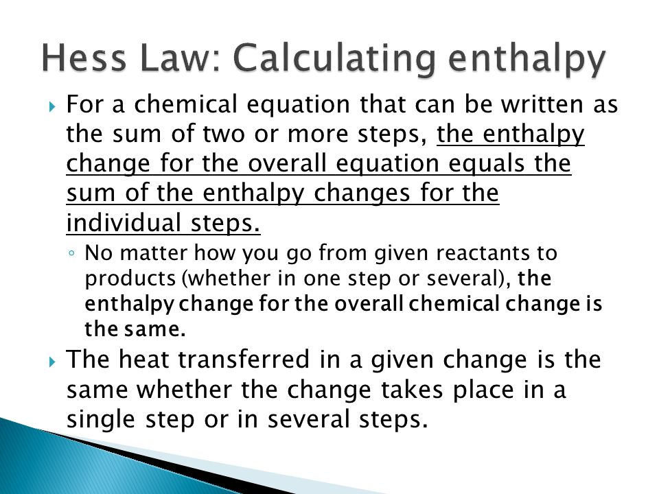 Hess Law: Calculating enthalpy