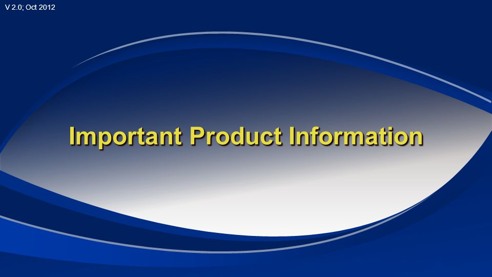 Important Product Information