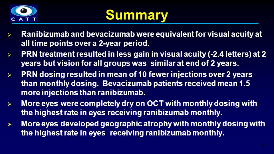 Summary Ranibizumab and bevacizumab were equivalent for visual acuity at all time points over a 2-year period.