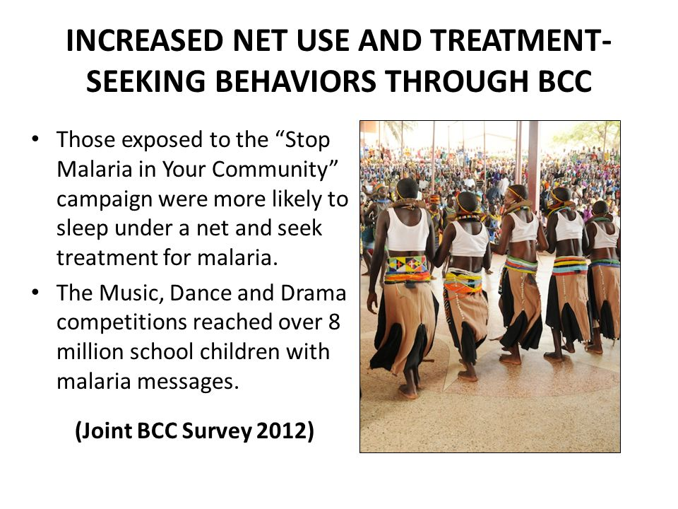 INCREASED NET USE AND TREATMENT-SEEKING BEHAVIORS THROUGH BCC