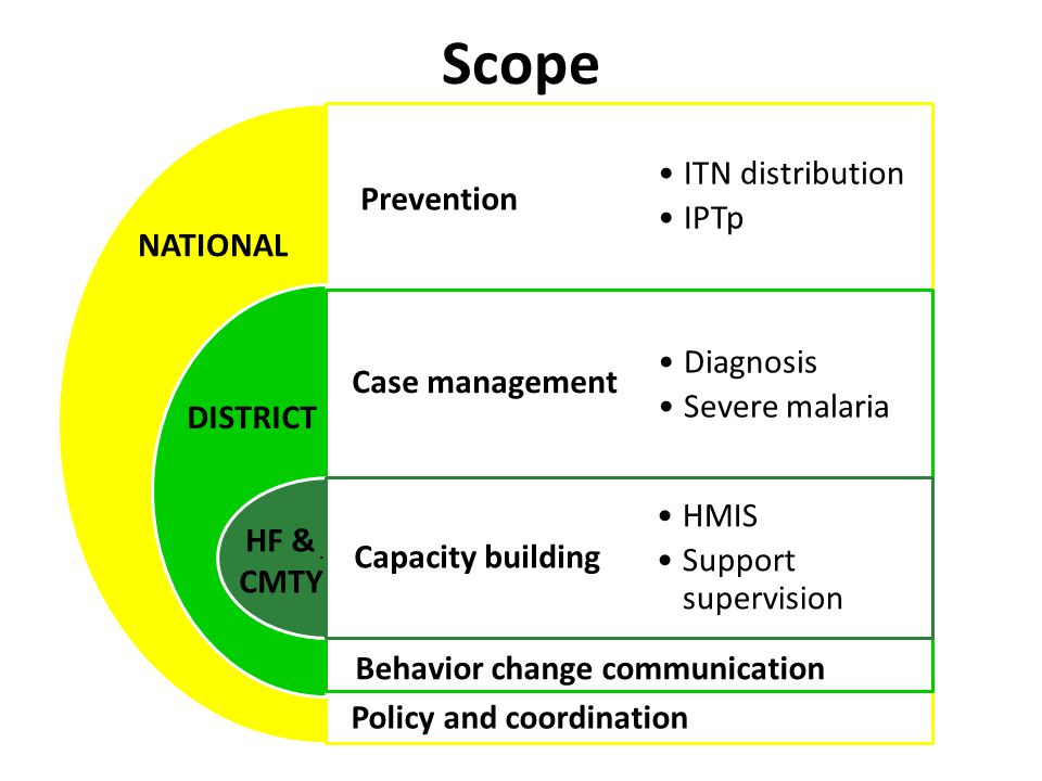 Scope Prevention Case management Capacity building ITN distribution