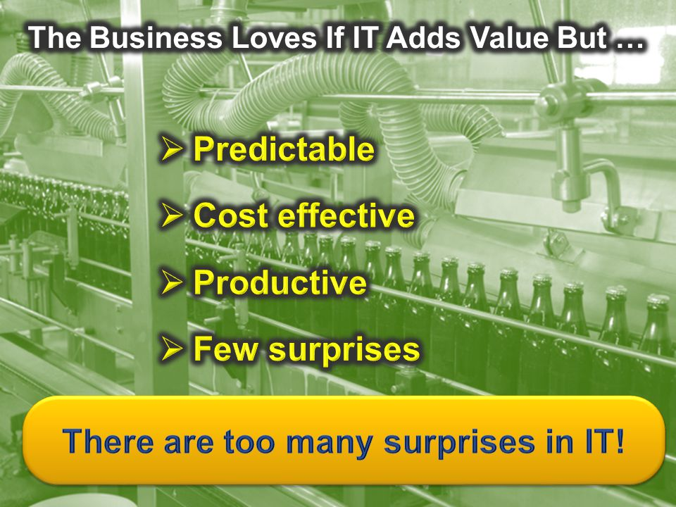The Business Loves If IT Adds Value But …