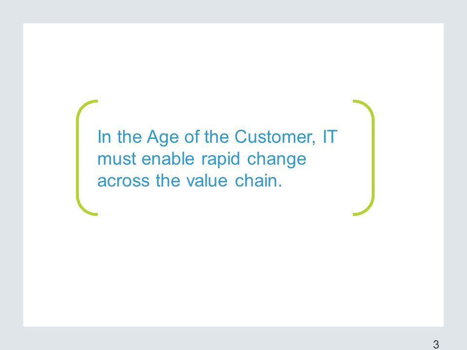 In the Age of the Customer, IT must enable rapid change across the value chain.