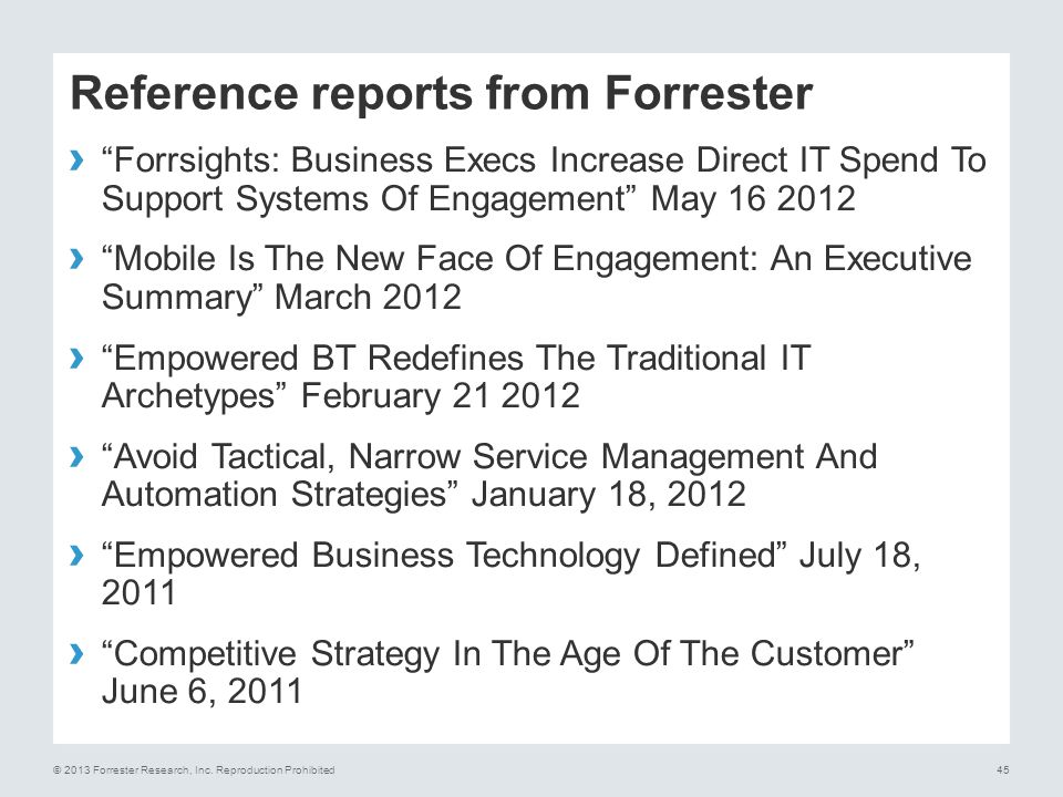 Reference reports from Forrester