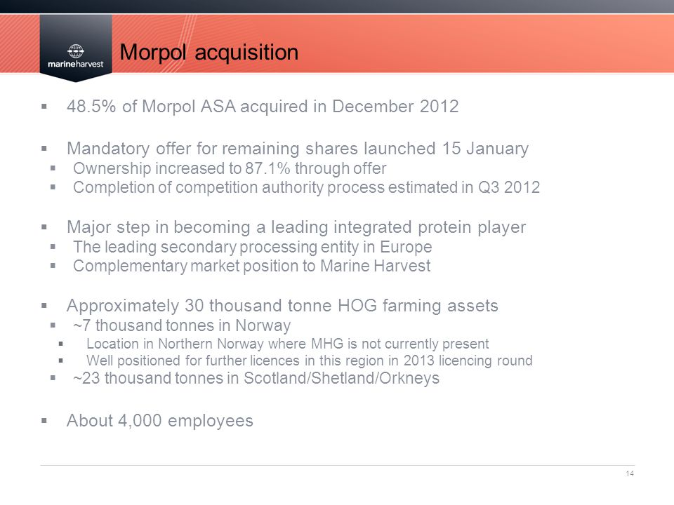 Morpol acquisition 48.5% of Morpol ASA acquired in December 2012