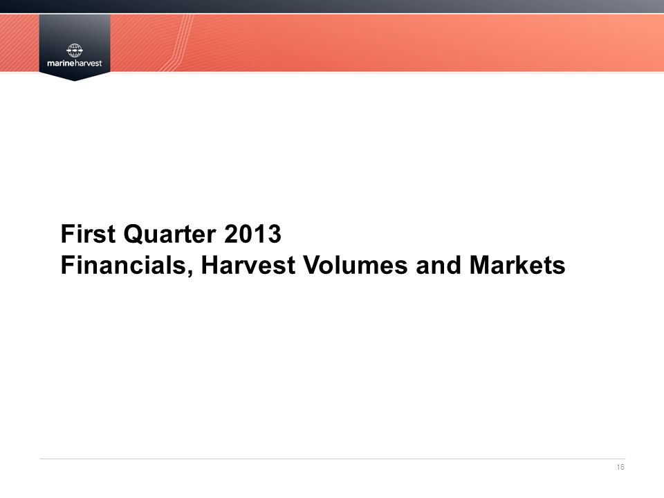 First Quarter 2013 Financials, Harvest Volumes and Markets