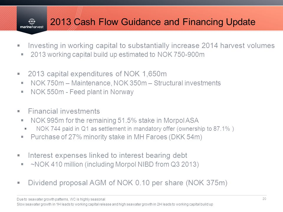 2013 Cash Flow Guidance and Financing Update