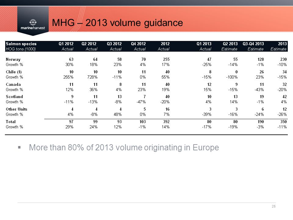 MHG – 2013 volume guidance More than 80% of 2013 volume originating in Europe